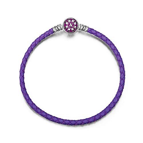 NINAQUEEN Pulsera 19 CM Cuero Púrpura Regalos Mujer Originales Plata de Ley 925 Esmalte Brazalete para Niñas Madre Hija Esposa de Cumpleaños