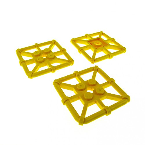 3 x Lego System Gitter Platte gelb 2 x 2 Rettungsinsel Rahmen Käfig Dach Set 6478 60095 5980 30094