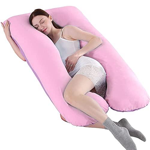 SHANNA - Almohada extragrande para adultos, almohada corporal para embarazadas y maternidad, en forma de U, con funda extraíble y lavable, 70x130cm, algodón, Morado y rosa., 70*130CM