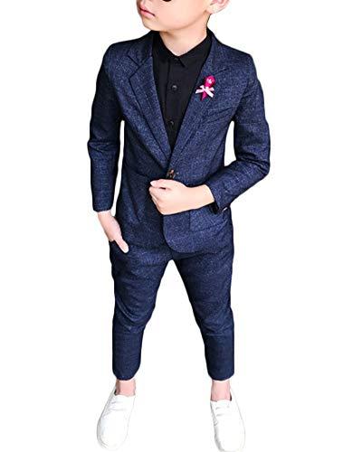 Jungen Kinder Anzug Plaid Zweiteiliges Set Lange Ärmel Revers Blazer Hosen Outfit Blau 130