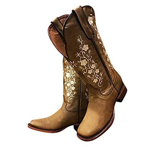 Geilisungren Damen Vintage Cowboystiefel Floral Bestickt PU-Leder Lange Stiefel Quadratische Absätze Slip On Schuhe Winter Hoch Boots Reitstiefel