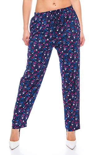 Crazy Age Damen Hosen Lang Bedruckt Sommerhose Yogahose Stil mit Elastischen Bund Freizeithose Einkaufshose Blumenhose Blümchen (Blau-Pink(21), XXL)