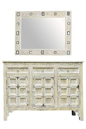 Oosterse commode dressoir Hawa inclusief spiegel wit grijs | Orient vintage commodekast oosters met de hand versierd | Indiase landhuis dressoir van hout | Aziatische meubels uit India
