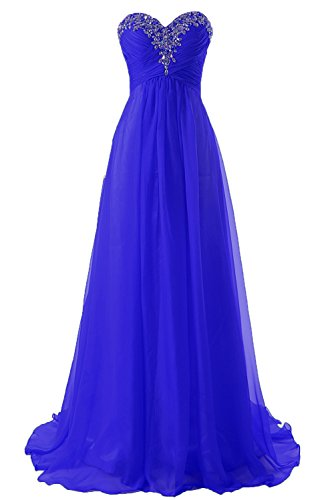 JAEDEN Prom Dress Bridesmaid Dresses Long Prom Gown Chiffon Formal Evening Gowns A line Evening Dress Royal Blue US10