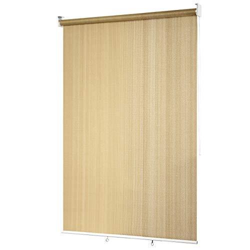 COSTWAY Persiana Opaca Toldo Enrollable con Cadena/Protección Solar/Pantalla de Privacidad para Terraza Patio Oficina (Beige, 121 X181cm)