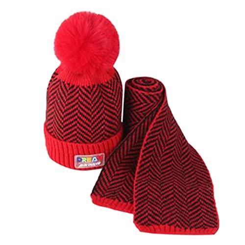 iSunday (2 sombreros de bebé para invierno, gorro de punto, para niños, otoño e invierno, lana cálida, gorro de lana para bebé, gorro de punto para niños (rojo)
