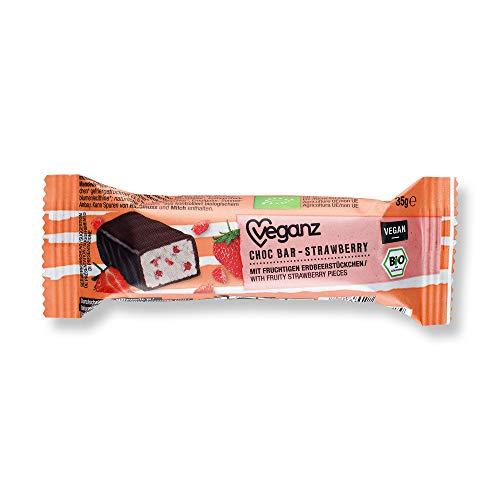 Biologisch Vegan Choc Bar Aardbei met romige aardbeivulling in pure chocolade - vegan chocoladedeg 18 x 35g