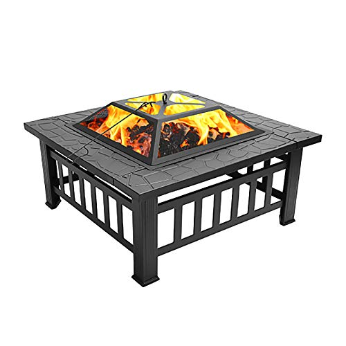 Pannow Outdoor Metal Fire Pit Table, 32 inch Square Fireplace Stove Wood Burning Heater BBQ Grill Firepit Bowl with Spark Screen Heat Shield & Waterproof Cover for Outside Backyard Garden Terrace