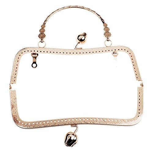 chiwanji Vinatge Taschenverahmen mit Griff und Kugel-Verschluss Taschenbügel Handtasche Geldbörse Frame - Hell Gold