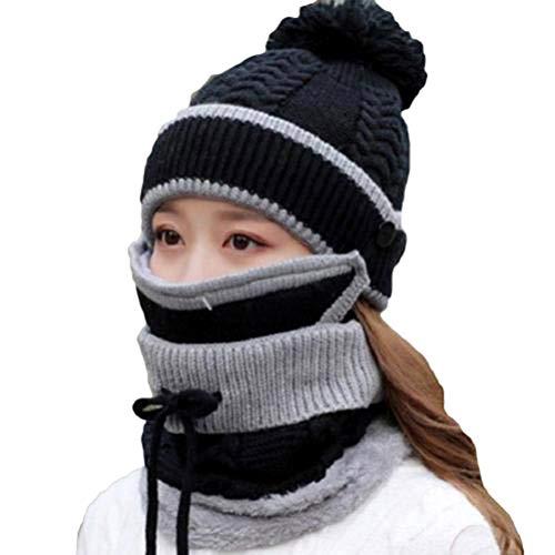 RetroFun Conjunto de Bufanda de Invierno 3 en 1, Gorro de Punto de Punto Grueso de Invierno para Mujer con una cálida Cubierta Facial y Bufanda para el Cuello para Deportes en Interiores y Exteriores