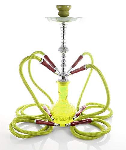 4- Hose Exotic Shisha Yellow Luxury pipe chicha Narguila cachimba