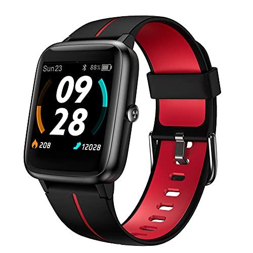 Smartwatch GPS,Fitness Tracker Fitness Armbanduhr Pulsuhr 5ATM Wasserdicht Touch-Farbdisplay Sportuhr Smart Watch Schrittzähler,Stoppuhr Wettervorhersage Schlafmonitor für Herren Damen für iOS Android