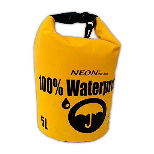 Bolsa seca 100% impermeable, lona de PVC de alta calidad 500d, paseos en bote, pesca, camping, deportes acuáticos, playa, lago, Río..., 5L, Amarillo