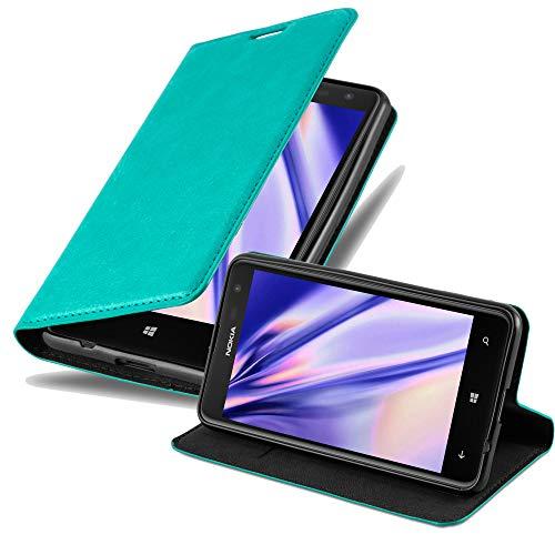 Cadorabo Hülle für Nokia Lumia 625 in Petrol TÜRKIS - Handyhülle mit Magnetverschluss, Standfunktion & Kartenfach - Hülle Cover Schutzhülle Etui Tasche Book Klapp Style
