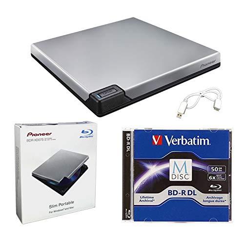Pioneer BDR-XD07S Portable 6X Blu-ray Burner External Drive Bundle with 50GB M-DISC BD-R DL and USB Cable - Burns CD DVD BD DL BDXL Discs