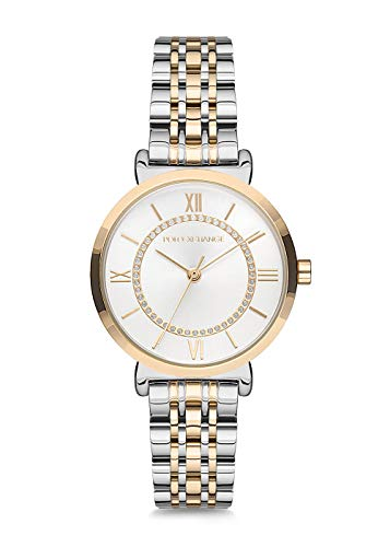 POLOEXCHANGE PX0065-02 – Extravagant - Qualitatives jap. Quarzwerk – Moderne Damen Uhr Silber Gold/hochwertige Edelstahl – Damenuhr mit Strass
