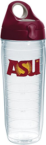 Tervis 1232069 Arizona State Sun Devils Insulated Tumbler with Emblem and Maroon Lid, 24oz Water Bottle, Clear