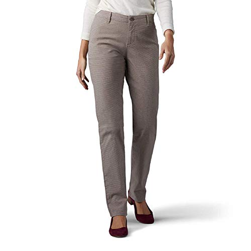 Lee Women's Relaxed Fit All Day Straight Leg Pant (Deep Breen Micro Check, 2 Short)