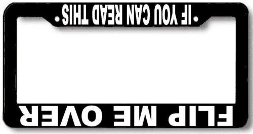 Flip Me Over Upside Down 4x4 Truck License Plate Frame Auto Car Novelty Accessories License Plate Art