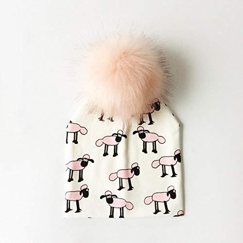 XCLWL Beanie Damen Mützebaby Mütze Baumwolle Druck Pompon Hut Für Kinder Jungen Winter Hut Kinder Mädchen Hüte Bonnet Baby Hüte Weiße Schafe