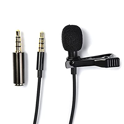 ATPWONZ Clip on Mic 3.5mm Lavalier Lapel Omnidirectional Condenser Microphone with a Adapter for iPhone & Android Smartphones or Any Other Mobile Device