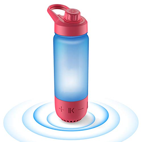 ICEWATER 3-in-1 Smart Water Bottle(Glows to Remind You to Stay Hydrated)+Bluetooth Speaker+ Dancing Lights,22 oz,Stay Hydrated and Enjoy Music,Great Gift (Red)