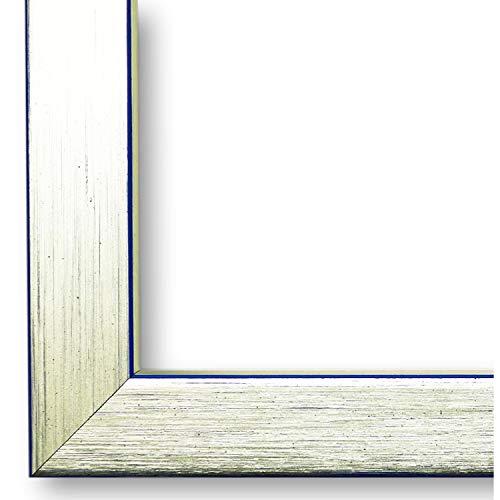 Online Galerie Bingold Bilderrahmen Erlangen Silber, Kante Blau 2,0 I 9 x 13 cm mit Normalglas (WRF) I handgefertigte Holz Fotorahmen I Holzrahmen mit Glas inkl. Montagematerial