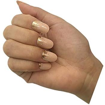 False Nails Nude& Gold Glitter Nail Tip Design Full Cover Nails