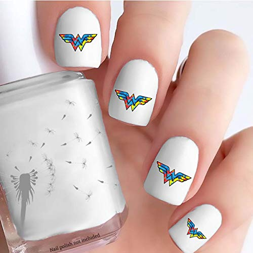 Autism Awareness Wonder Woman Style Logo (Clear Vinyl - Cut, Peel, Stick Nail Decals)
