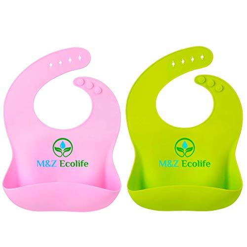 M&Z Ecolife Bavaglini in Silicone ecologico Impermeabili di Alta Qualità per Neonata e Neonato, Leggeri, Morbidi e Facili da Pulire, Set Verde e Rosa