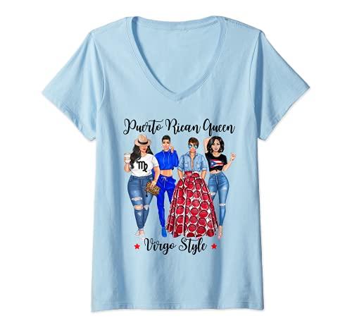 Womens Puerto Rican Queen Virgo Style August September Birthday V-Neck T-Shirt