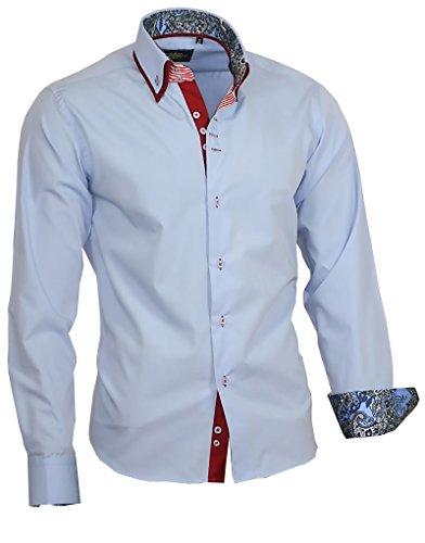 Binder de Luxe Herren Herren Hemd modern fit Doppelkragen 717 Hellblau 42