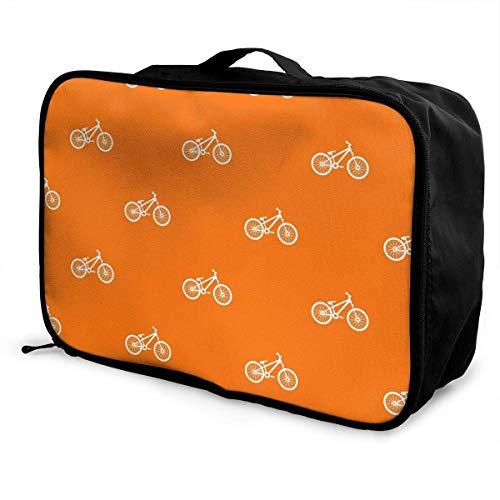Bolsa de viaje, bolsa de viaje con ruedas, maletas ligeras portátiles, bolsa de lona, bolso de mano, bicicleta en color naranja
