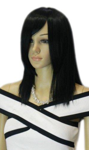 Qiyun Moyen Longue Fonce Noir Raide Ramp Frange Synthetique Cheveux Complete Perruque