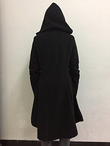 ETCYY Women's Black Button Asymmetrical Winter Long Trench Jackets Coat
