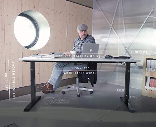 Escritorio de altura regulable con control eléctrico, asiento de pie ergonómico, estructura de mesa con tablero de aglomerado decorativo.