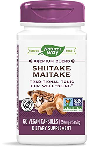 Nature's Way Shiitake and Maitake, 250 mg per serving, 60 Capsules (Packaging May Vary)