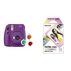 Fujifilm instax Mini 9 Kamera mit Farblinsen, lila & Mini Frame WW1 Macaron, Bunt