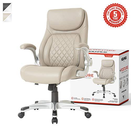 NOUHAUS +Posture Ergonomic PU Leather Office Chair. Click5 Lumbar Support with FlipAdjust Armrests....
