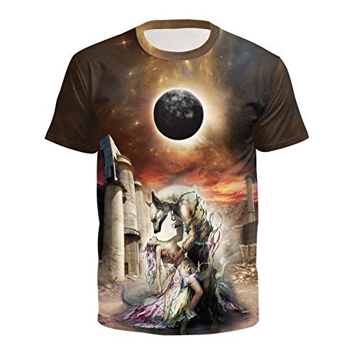XIAOBAOZITXU T-Shirt 3D Digital Printing Beasts And Beauty Pullovers Short Sleeves Round Neck Summer Men And Women Lovers Clothing S