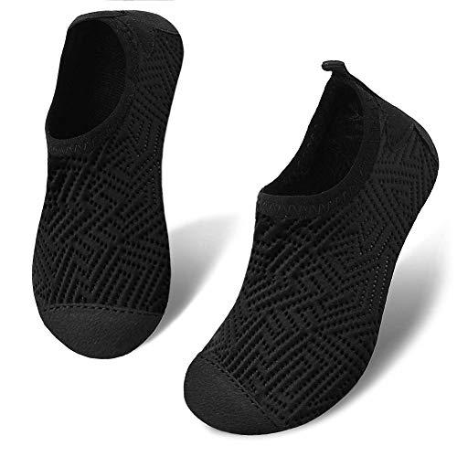 Romote Toddler Kids Swim Water Shoes Quick Dry Non-Slip Water Skin Barefoot Sports Shoe Aqua Socks for Boys Girls Baby Black 1.5~2 Big Kid