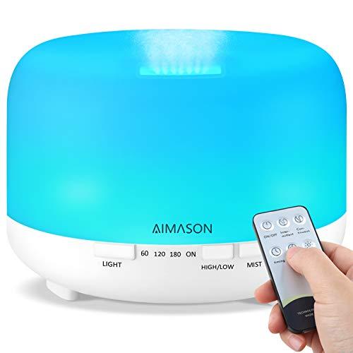 Diffusore di Oli Essenziali, AIMASON 500ml Diffusore di Aromicon modalità regolabile, senza BPA, timer e spegnimento automatico , Diffusore Ambiente Luci Notturne 7 Colori, Senza BPA, Bianco