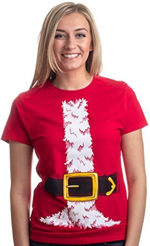 Santa Claus Costume | Jumbo Print Novelty Christmas Holiday Humor Ladies' T-Shirt-Ladies,S Red