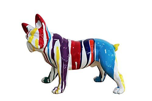 Meubletmoi Sculpture Chien Bulldog Multicolore en résine - Statue décorative Design Contemporain Pop Art - MEDOR