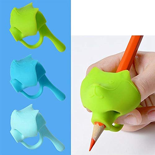 Empuñaduras de lápiz 2020 Nueva 3pc de Cinco Dedos Titular de la Pluma de Silicona bebé Principiante Escritura Aprendizaje Herramienta Lápiz Corrector Set Set de Escritorio de 3 Piezas