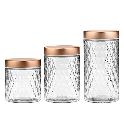 Amici Home Desmond Glass Container Storage Jar, 32-48 & 60 Fluid Ounces, Clear with Copper Lid