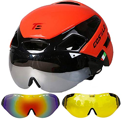 Jourlove Bike Helmet for Men Women with Detachable Magnetic Goggles Breathable Bicycle Helmets Adult Adjustable Size Cycle Helmet 21-23 Inch for Mountain Road Bike Riding,Red