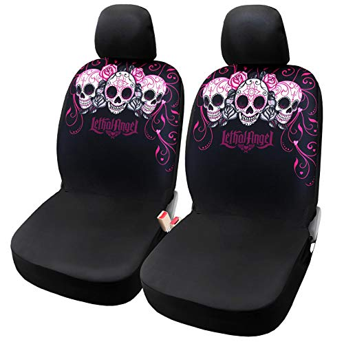 Leader Accessories Lady Skulls 2pcs Pink Front Seat Covers for Women Girl with Headrest Covers Car Interior Seat Protector for Truck SUV