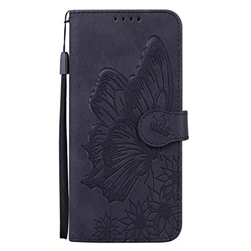 Miagon Hülle für iPhone SE 2020,Schutzhülle PU Flip Leder Brieftasche Handytasche mit Retro Schmetterling Entwurf Kartenfächer Klapp Handyhülle,Schwarz