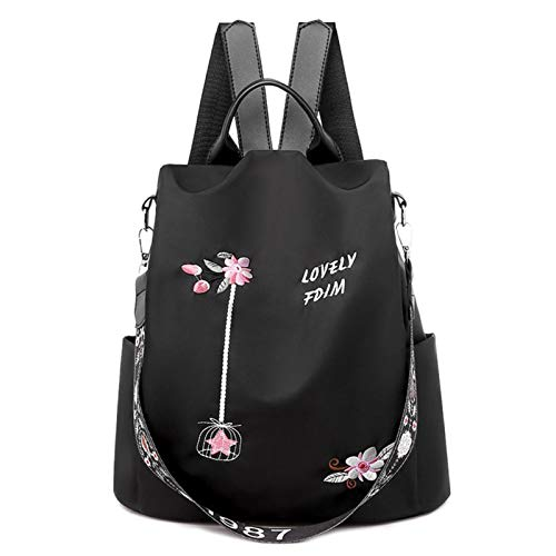 ZHEBEI Women's backpack flower embroidery women's backpack daily travel anti-theft school bag backpack